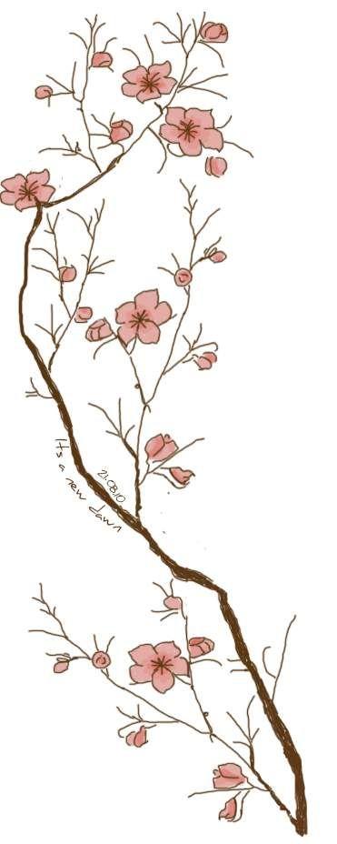 Motif Tatouage Noir Et Blanc: Modèle D'un Tatouage De Branche De Cerisier En Fleur