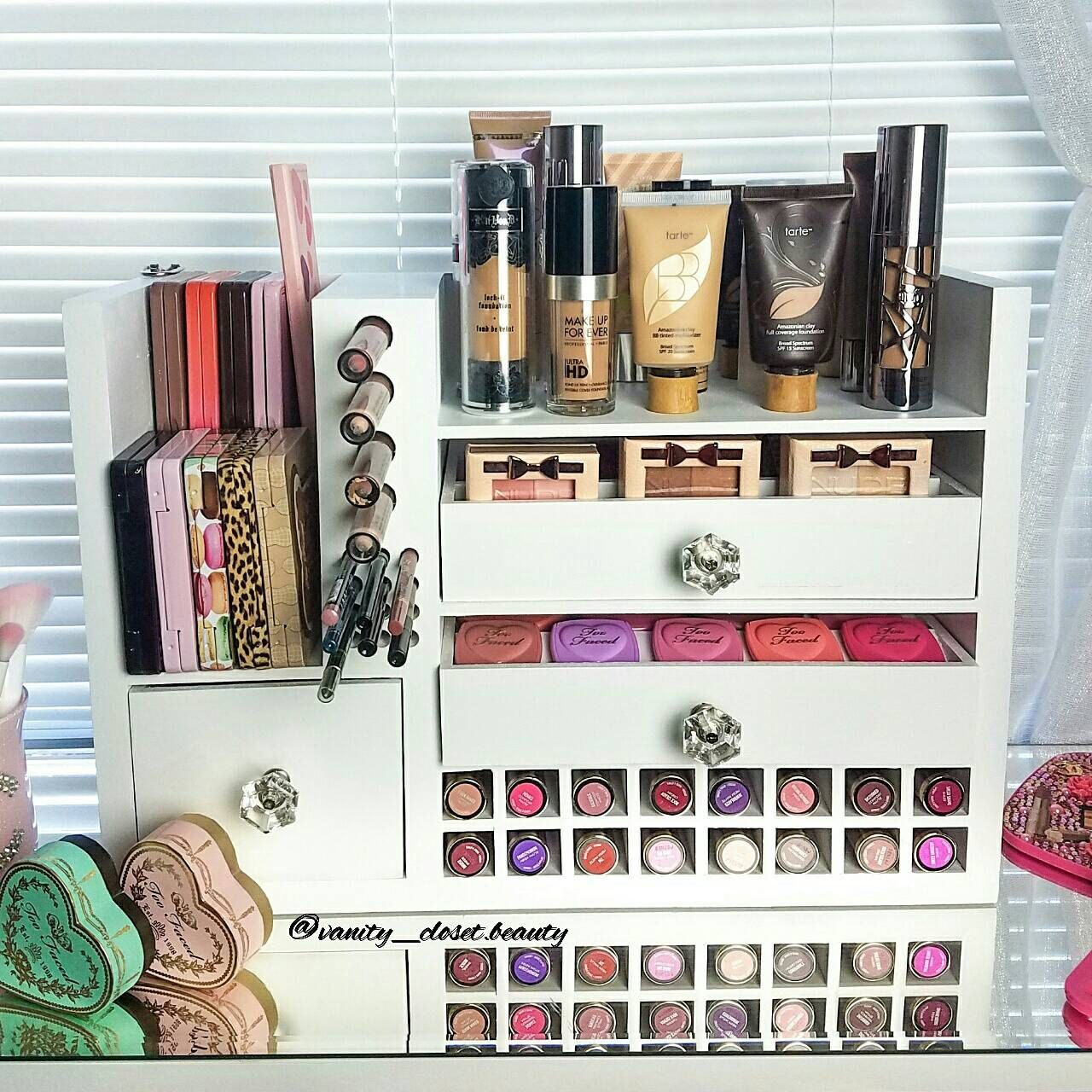 Wall Mounted Makeup Organizer by VanityClosetBeauty Etsy