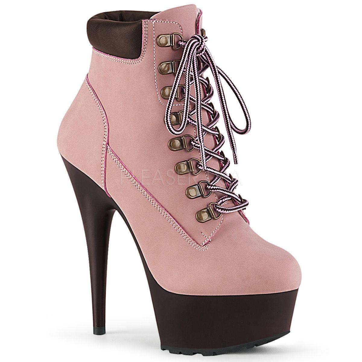 Offene Plateau Schnür Stiefelette Adore 1018 neon pink