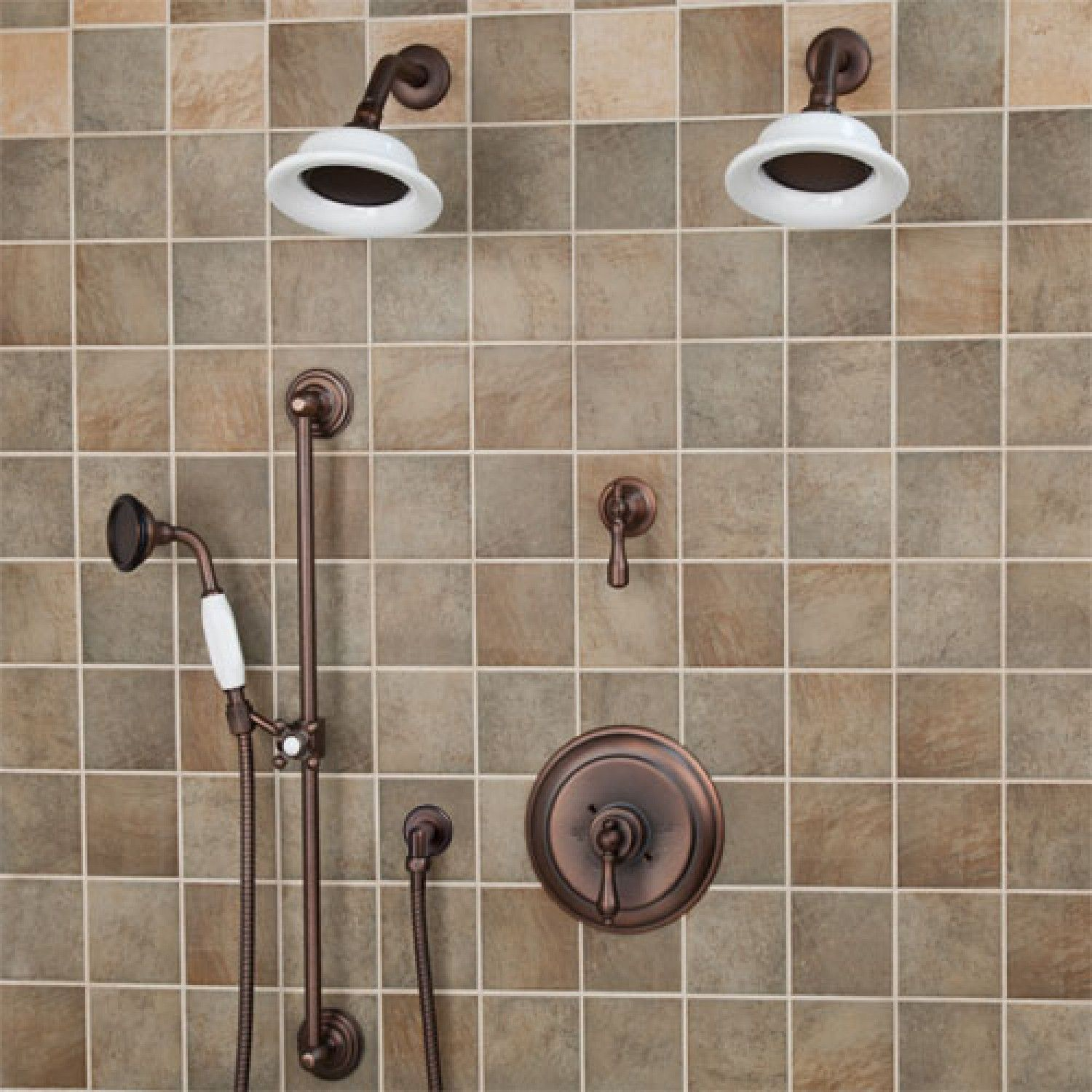 Pressure Balance Shower System Dual Heads Hand Lever Handle Oil Rubbed Bronze Bathroom
