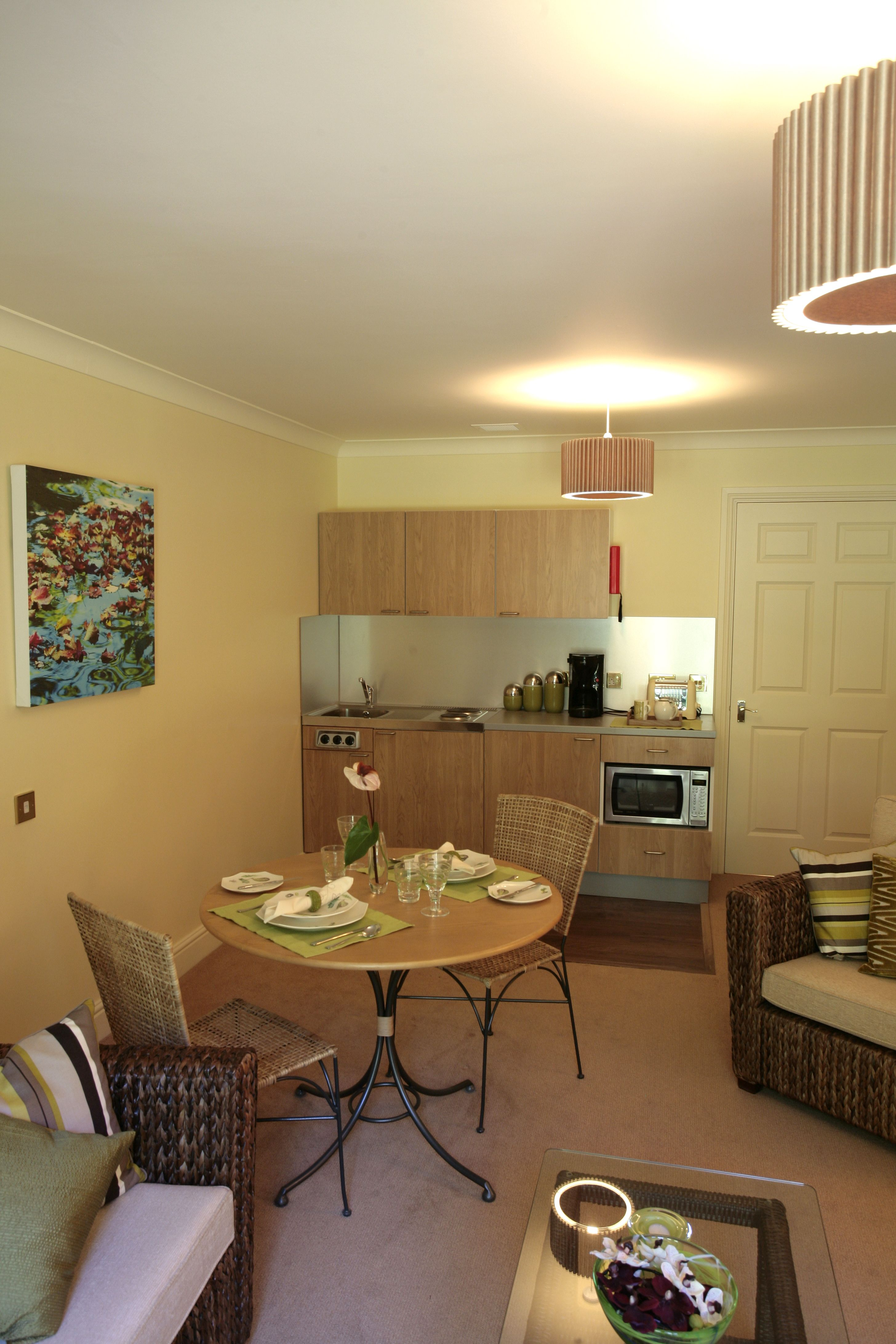 Project Oak Kitchenette With Combination Microwave Oven Within Retirement Apartments