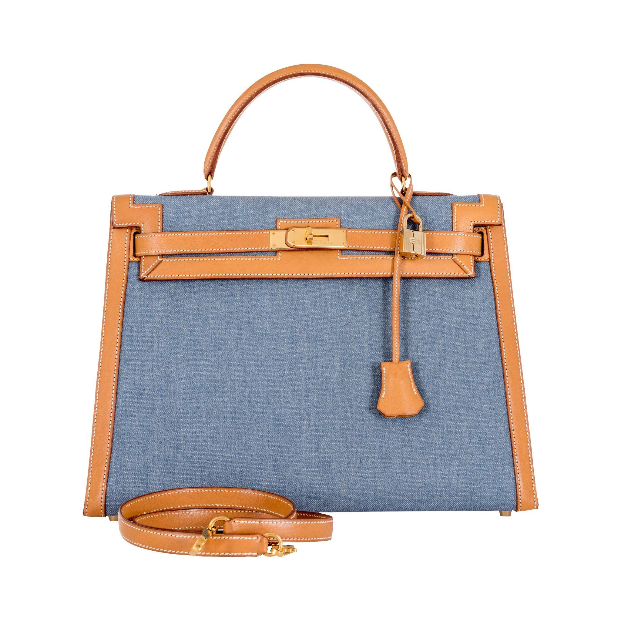 b4b95fa5b639 Hermes Kelly 35 Blue Denim With Barenia Gold Hardware Rare Limited-Kelly- Hermes-Blue-JaneFinds