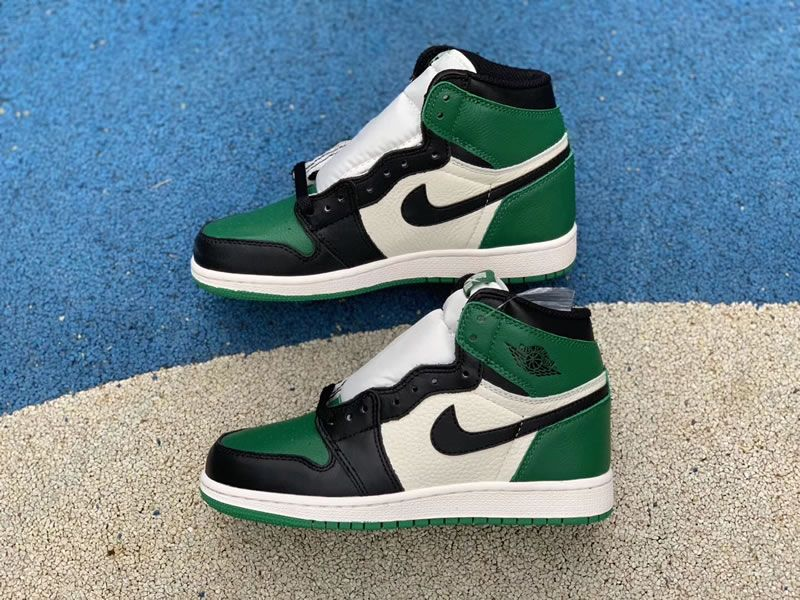 99009a8611f148 pine green new air jordan 1 high og gs 575441-302 shoes pics - www ...