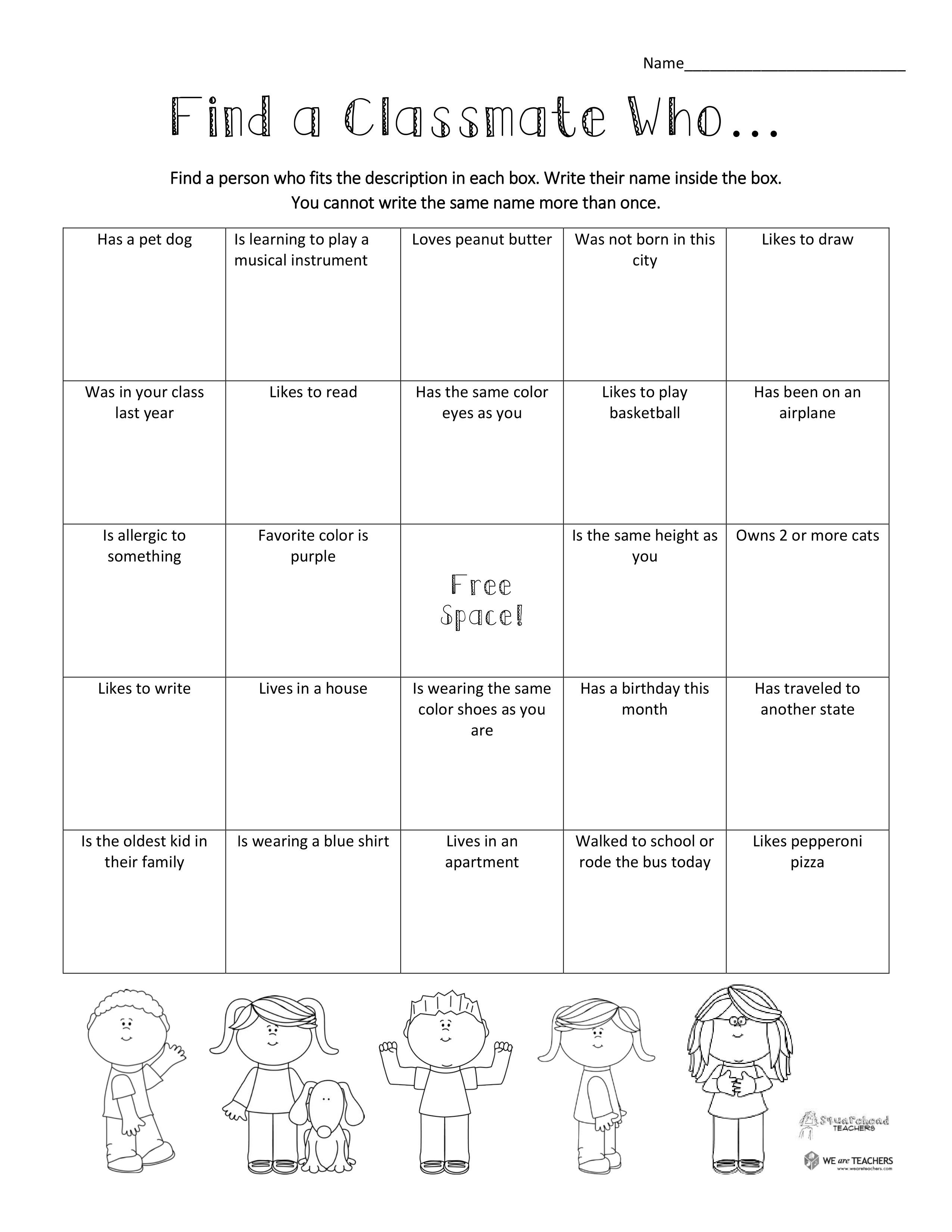 Free Printable Find A Classmate Who Icebreaker