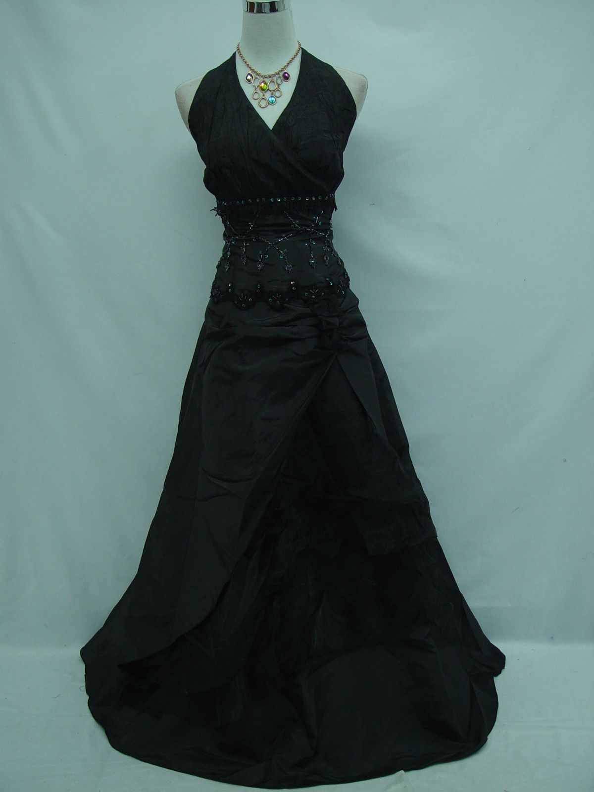 Cherlone Plus Size Black Halterneck Ballgown Wedding Formal Evening ...