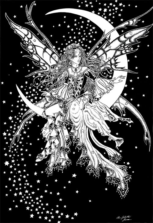 Moon fairy | Fairy coloring pages, Fairy coloring, Adult ...