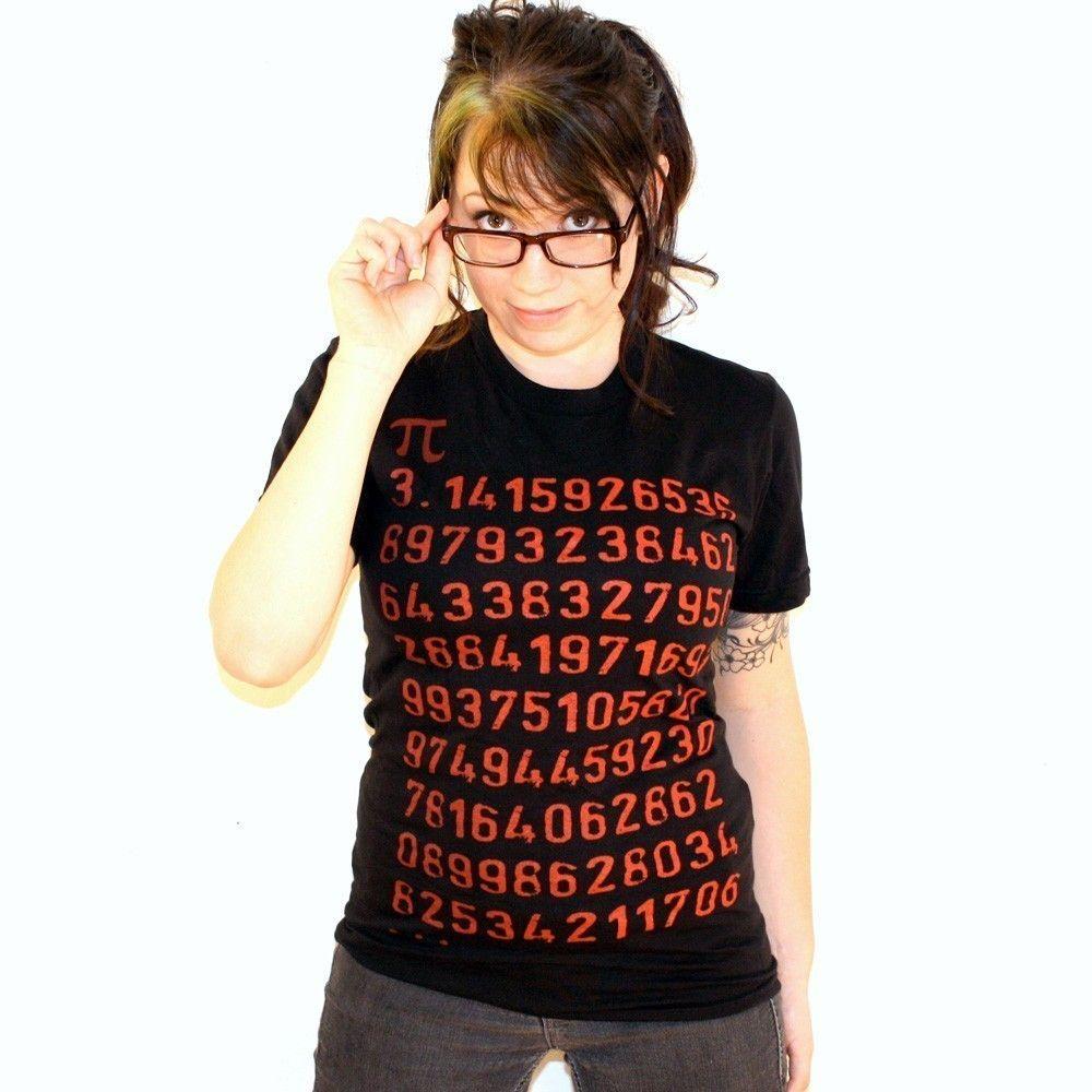 Pi Math Geek Ladies T-Shirt - American Apparel - Black Shirt ...