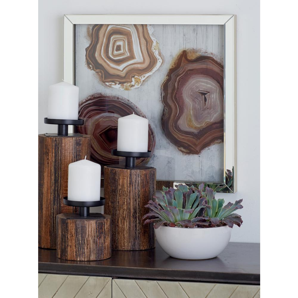 Litton lane multicolored polystone and wood framed agate stones