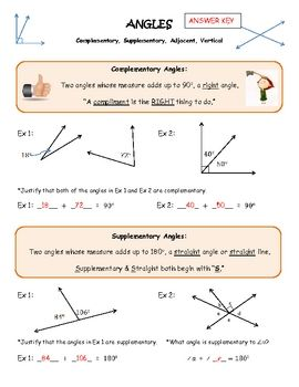 Worksheets Complementary Supplementary Angles Worksheet complementary supplementary vertical adjacent angles guided notes coloring activity