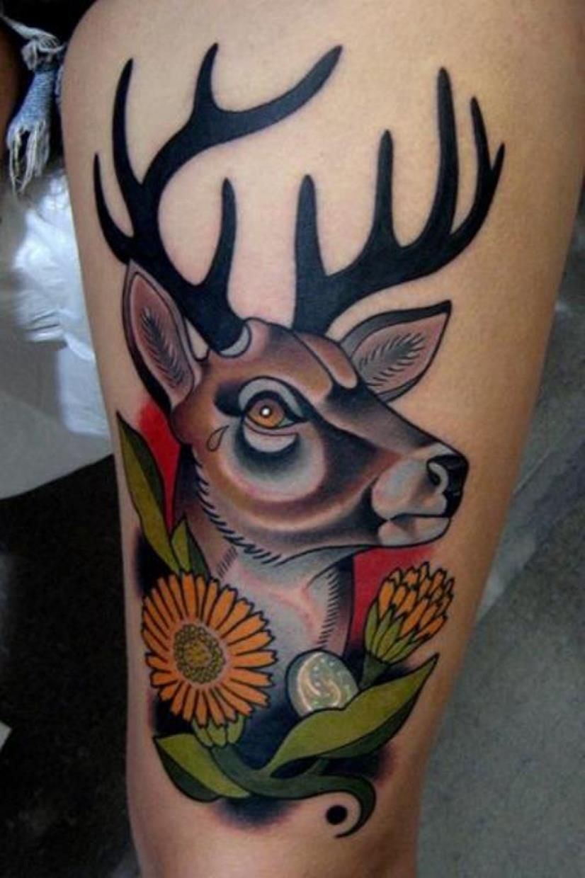 63d52b4f7 Old School Deer Tattoo | tattoos | Deer tattoo, Tattoos, Deer head ...