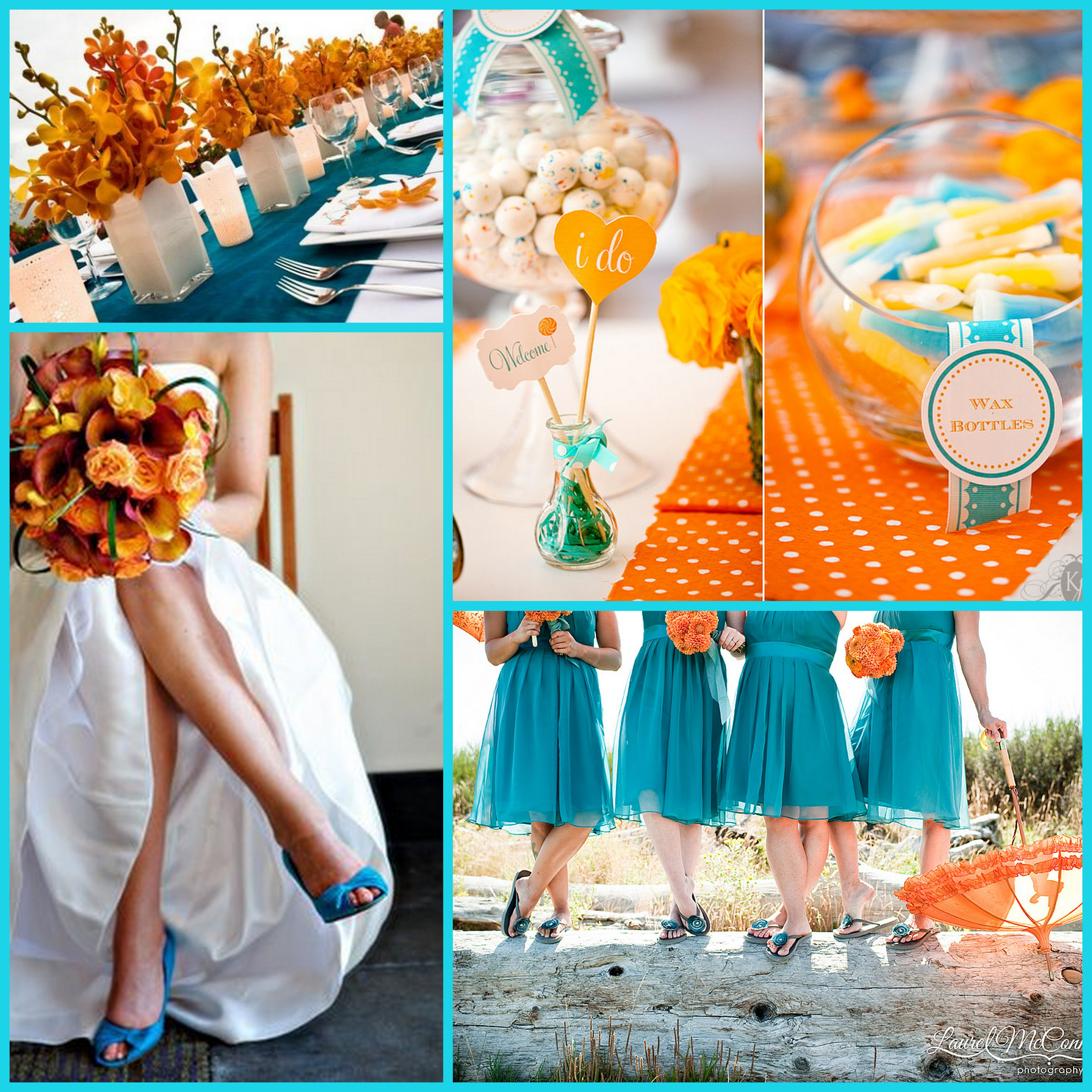 Orange and blue contrasting colour schemes or in this case red orange - Orange And Teal Coral And Tiffany Blue Green Reception Wedding Flowers Wedding Decor Wedding