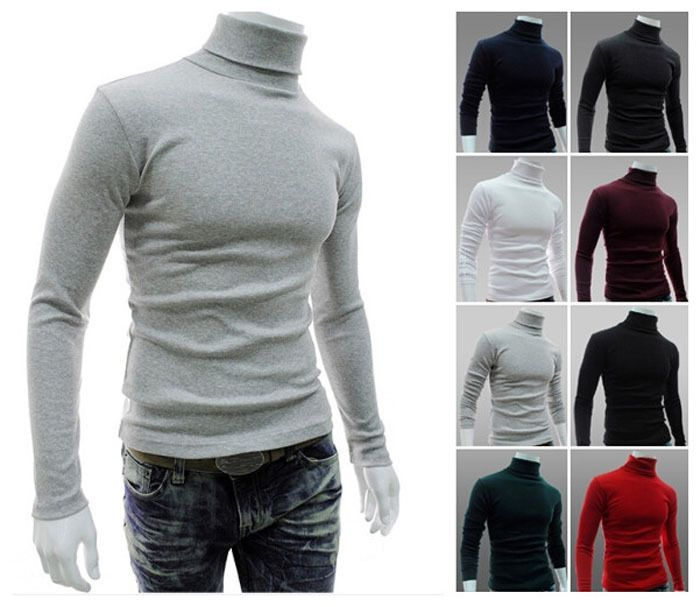 Mens Solid Roll Neck Long Sleeve T-shirt Cotton Top Polo Neck Turtle Neck Jumper