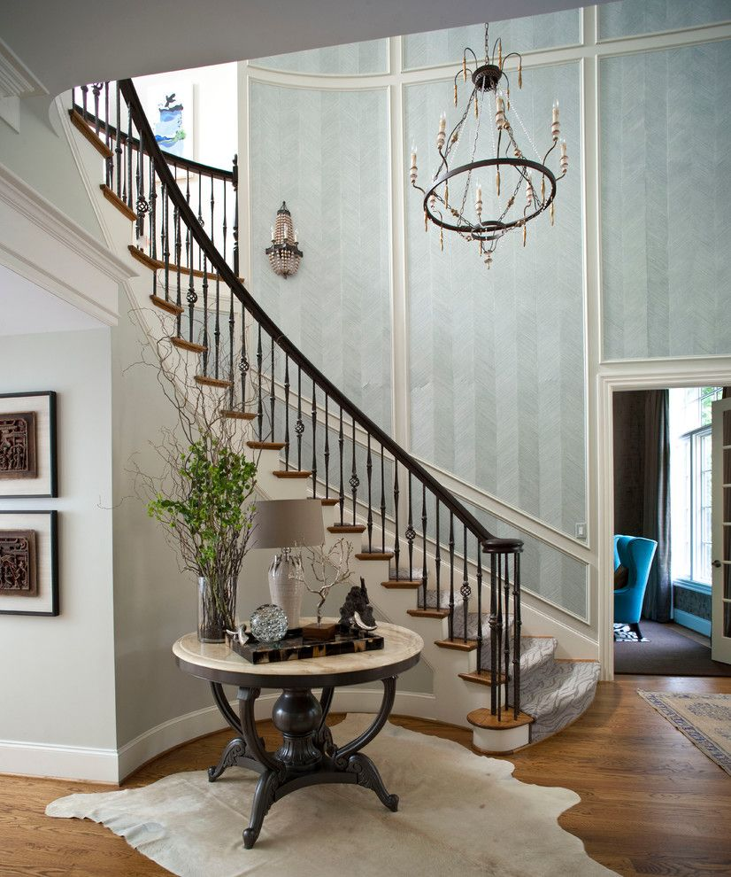 how to decorate curved staircase wall staircase traditional with white trim metal stair railing. Black Bedroom Furniture Sets. Home Design Ideas