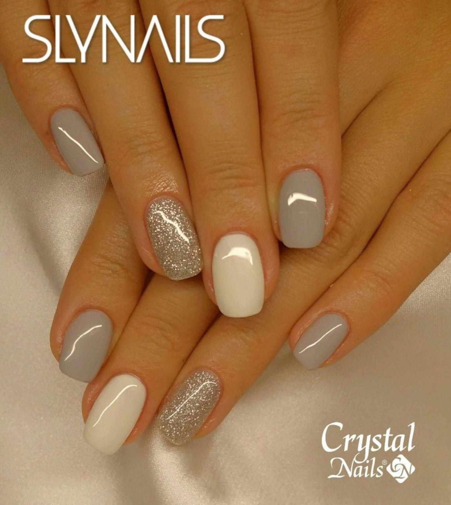 Nail Combo Gray White Silver Glitter Acrylicnailart With Images Crystal Nails Trendy Nails Nails