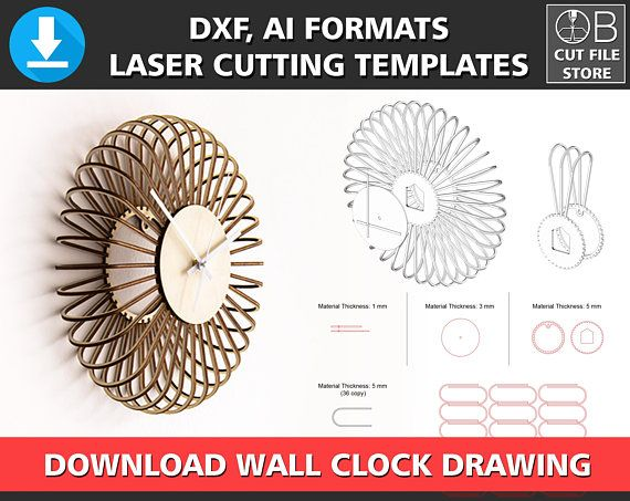 3d Wall Clock Laser Cutting Template Dxf Dwg Ai Format Cnc Instant