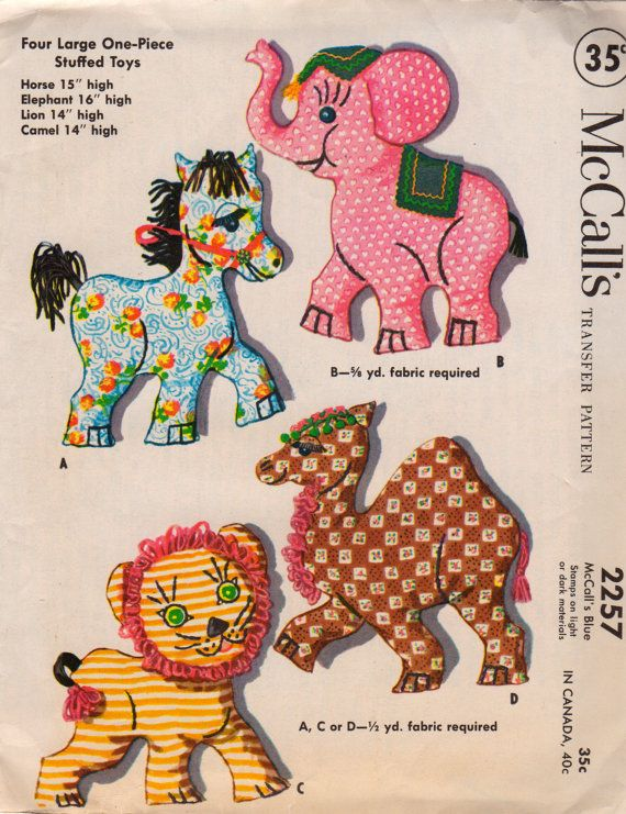 McCalls 2257 1950s Large Stuffed Animals Transfer Pattern Horse ...