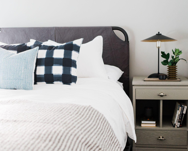 Grey Canvas Slipcover Bed frame, Buffalo Check Pillow