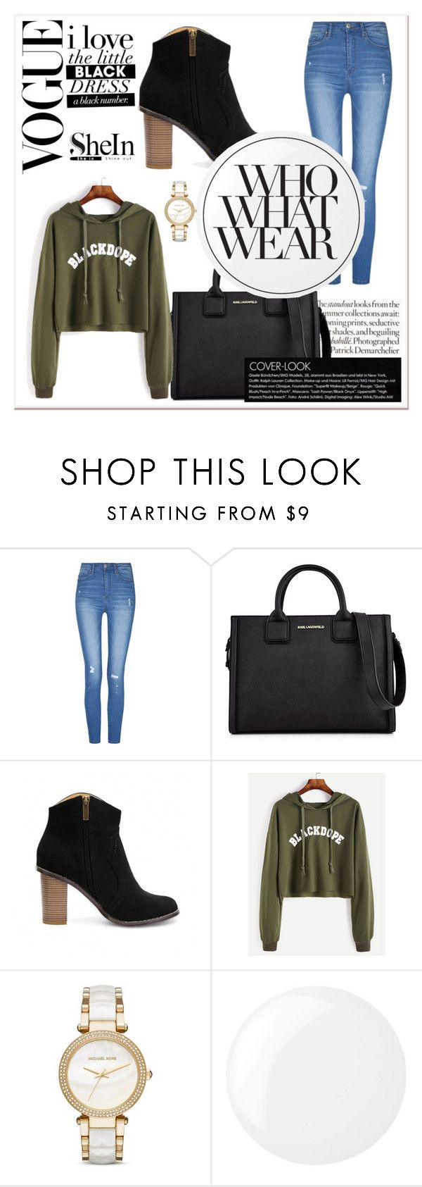 """""""shein # 6"""" by abbybo ❤ liked on Polyvore featuring Karl Lagerfeld, Michael Kors, Essie and Who What Wear"""