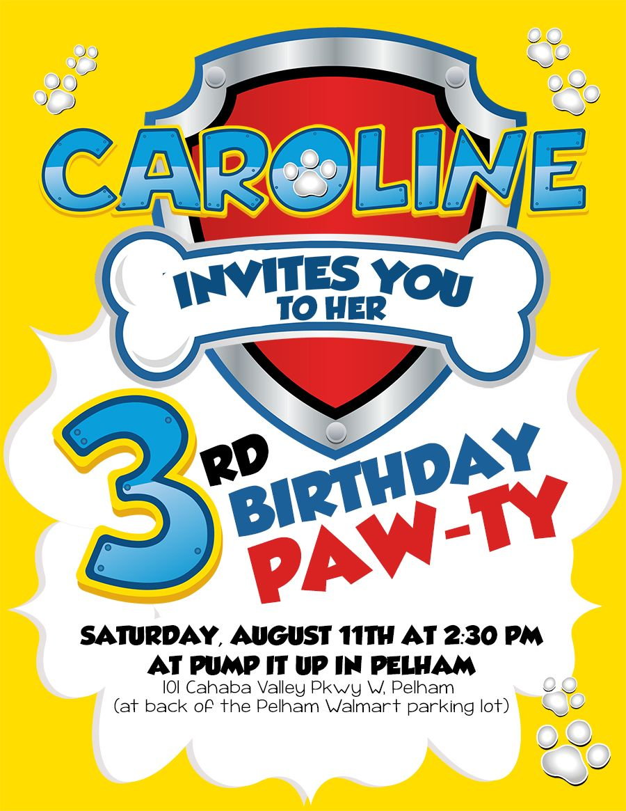 Paw Patrol Birthday Invite For 3rd Party Pawpatrol Pawpatroltheme Kidsbirthday Birthdayparty Birthdaypartyideas Pawpatrolparty