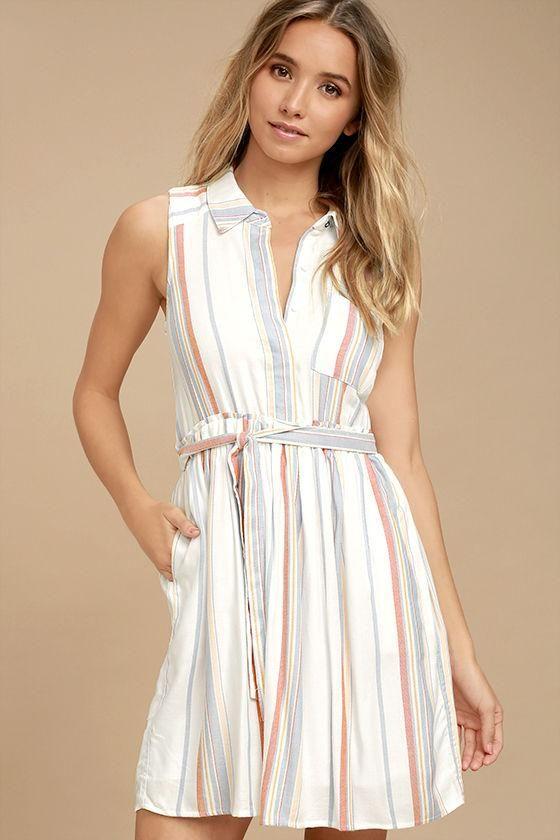 a1a1b357383 AdoreWe  Lulus Lulus Olive   Oak Celeste White Striped Shirt Dress ...