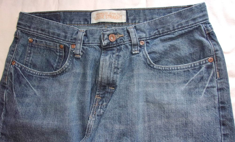 Wrangler Mens Jeans Loose Straight Fit Dark Wash Blue 32