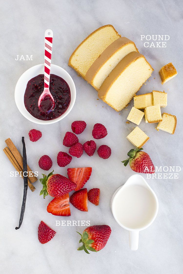 Berries cream parfaits made with sara lee pound cake