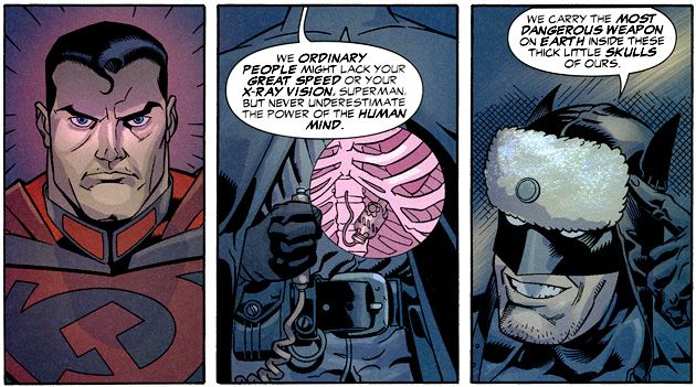Red Son Batman Tells Off Superman While Keeping A Grenade In His Intestine Just In Case Superman Story Superman Book Superman