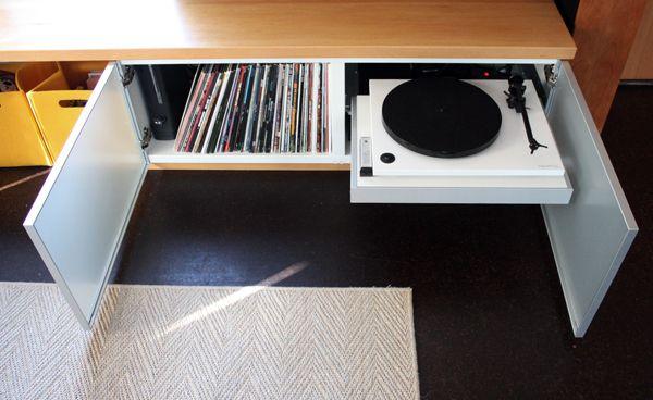 Media Bench Album Storage Record Player Turntable