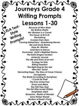 Journeys Grade 4-Writing Prompts Bundle Lessons 1-30
