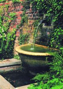 Exposed brick, great water feature