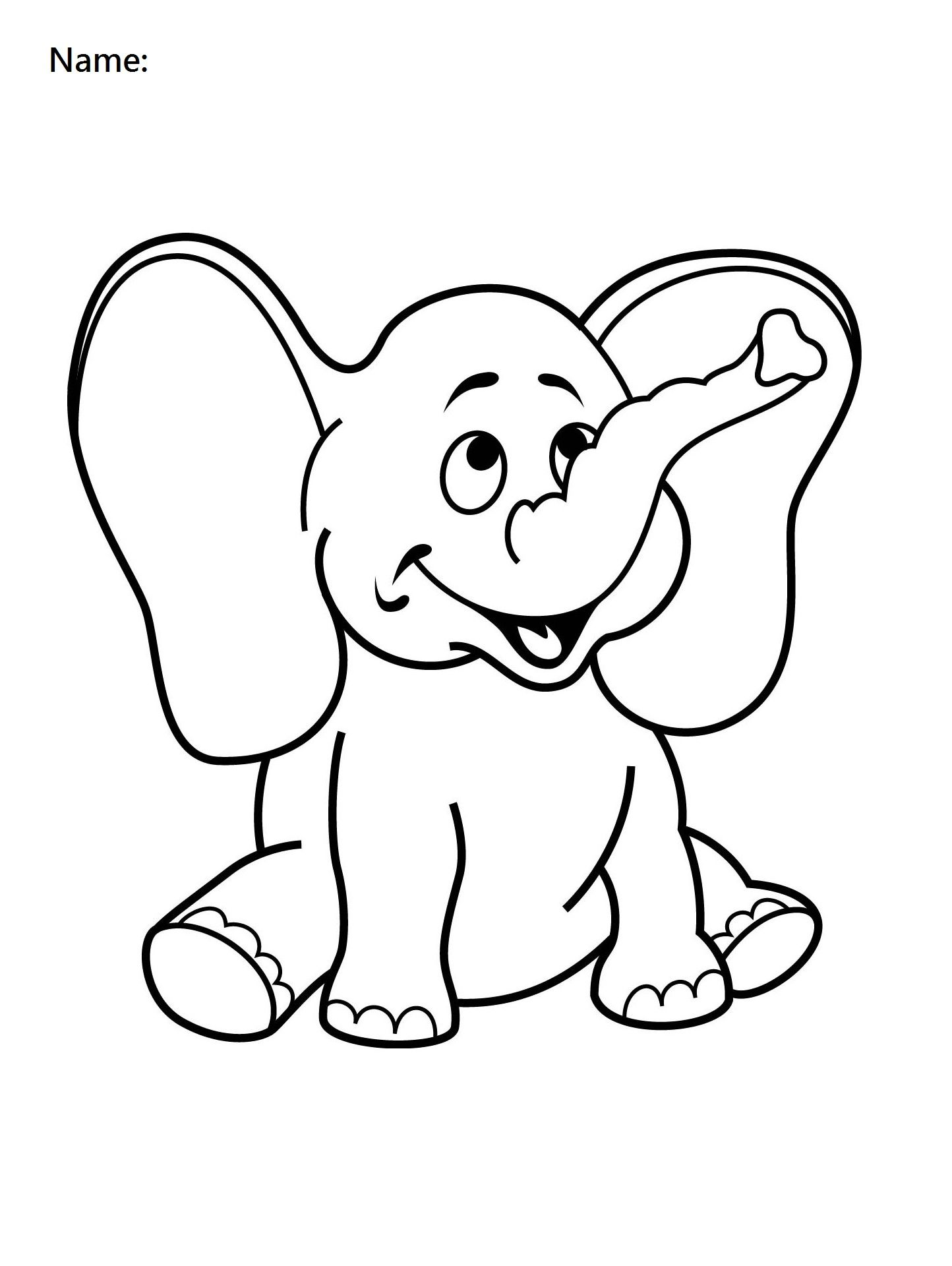 4 Year Old Worksheets Printable Coloring Elephant | Preschool ...
