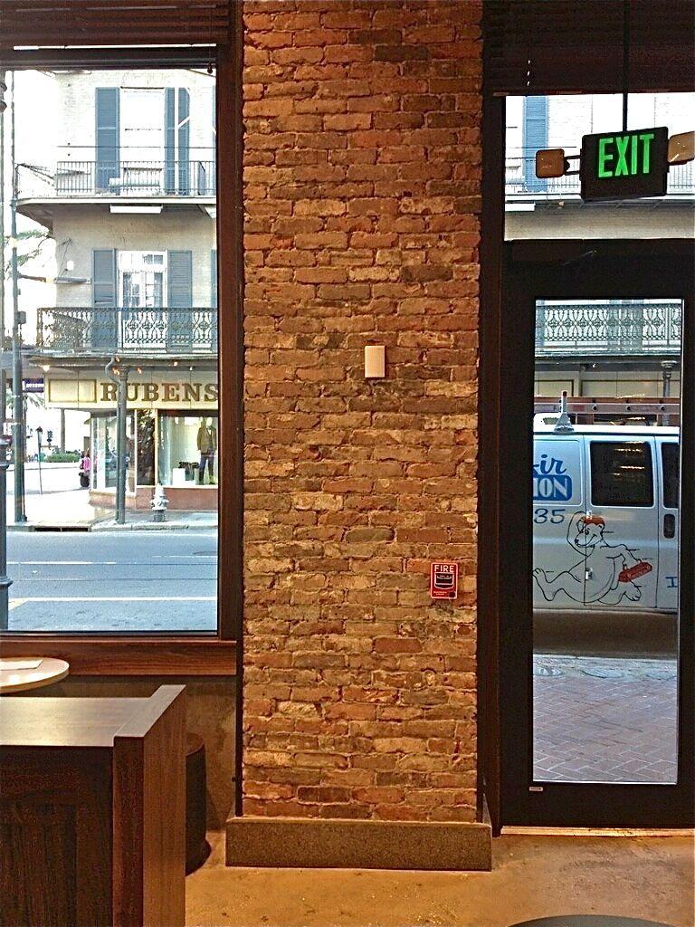 Thin brick veneer wall starbucks new orleans reclaimed for Modern brick veneer