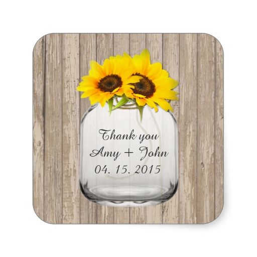 Mason jar sunflower wedding tags sunflwr6 square sticker