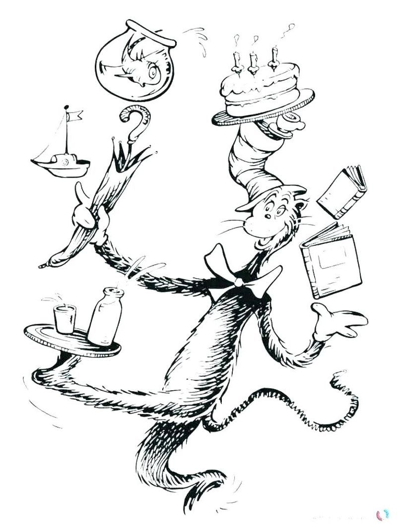 Dr Seuss Coloring Pages Cat In The Hat Dr Seuss Coloring Page To