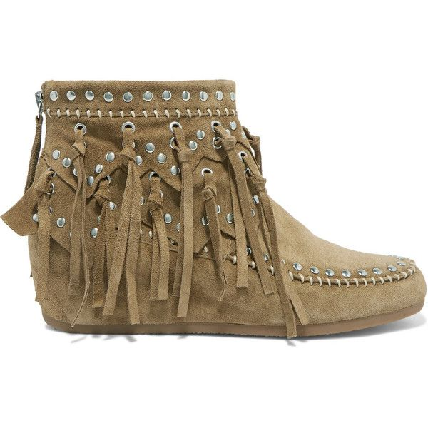 6b23b0d7aa40 ASH Spirit fringed studded suede ankle boots (€135) ❤ liked on Polyvore  featuring