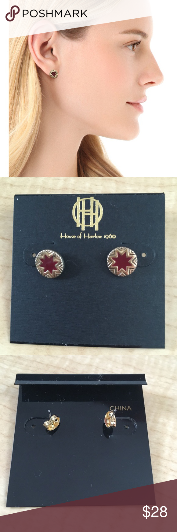 House of Harlow Mini Starburst Earrings Cranberry House of Harlow Mini Starburst Earrings Cranberry - plastic HoH backing included on request House of Harlow 1960 Jewelry Earrings