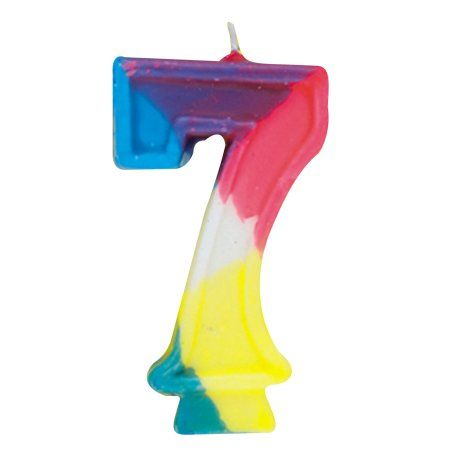 Rainbow Number 7 Birthday Candle Multicolor Candles 7th