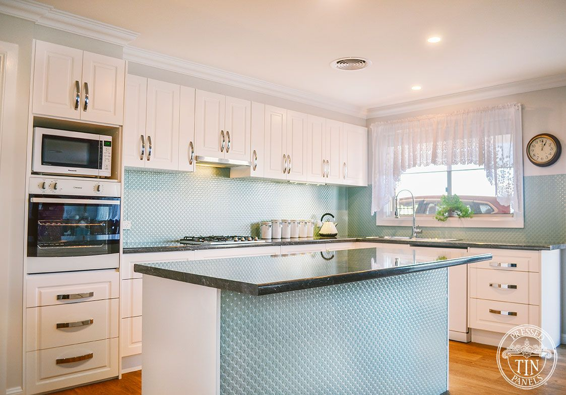 Pressed Tin Panels Scallop Pattern Powder Coated In Oxytech Smoke Blue Kitchen Splashback Kitchen Tiles Backsplash Blue Kitchens