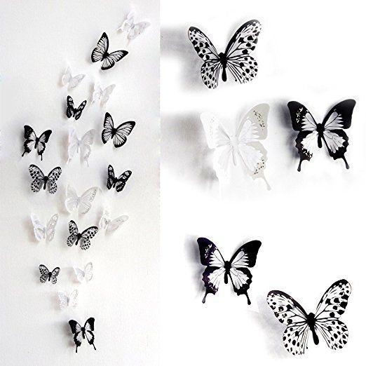 Best Haimoburg er Set D Schmetterling Aufkleber Wandsticker Wandtattoo Wanddeko f r Wohnung Raumdekoration pc