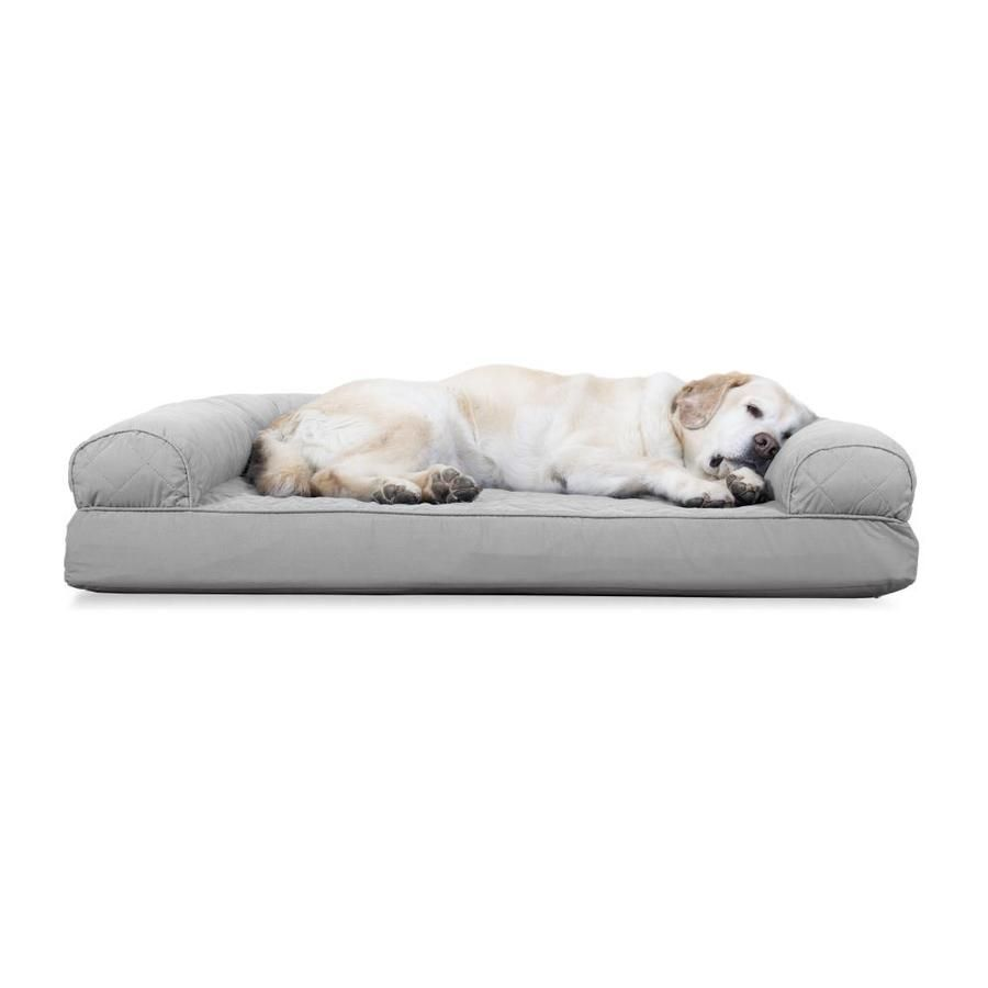 Furhaven Jumbo Quilted Cooling Gel Top Sofa Pet Bed Silver Gray