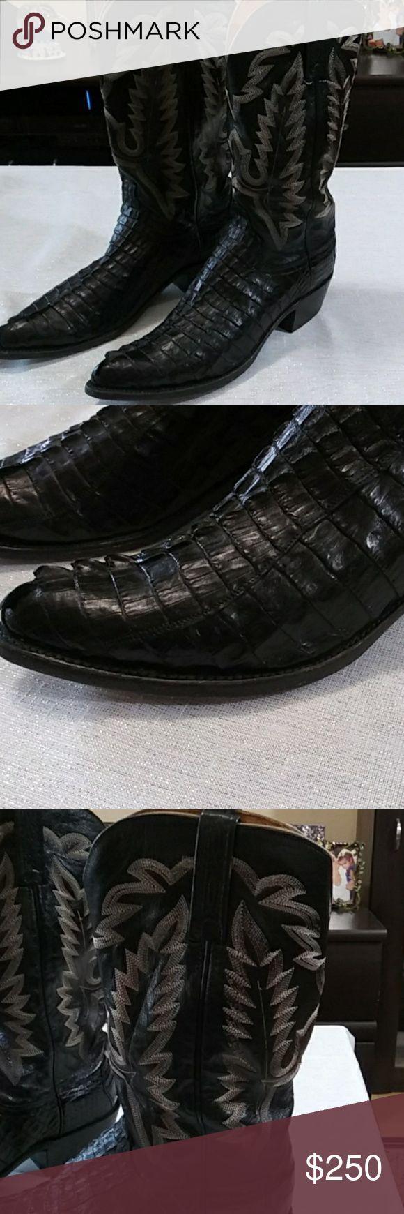Lucchese Crocodile Hommes Bottes noir Spotless. Taille 8,5 D. Ces bottes sont comme
