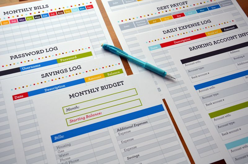finance_binder- log sheets for monthly budget/expenses, debt payoff - debt payoff spreadsheet template