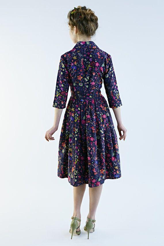 50s Dress Floral Dress Shirtwaist Dress Knee lengh by mrspomeranz