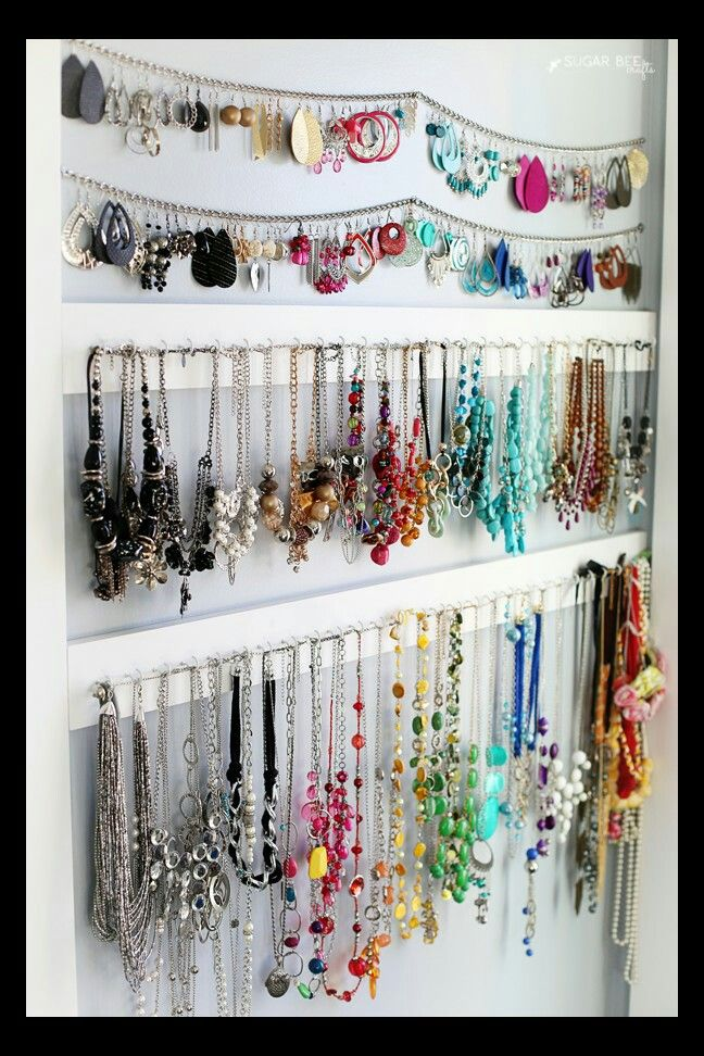 Organizing Earrings Necklace Organization Storage Diy Organizer Jewelry