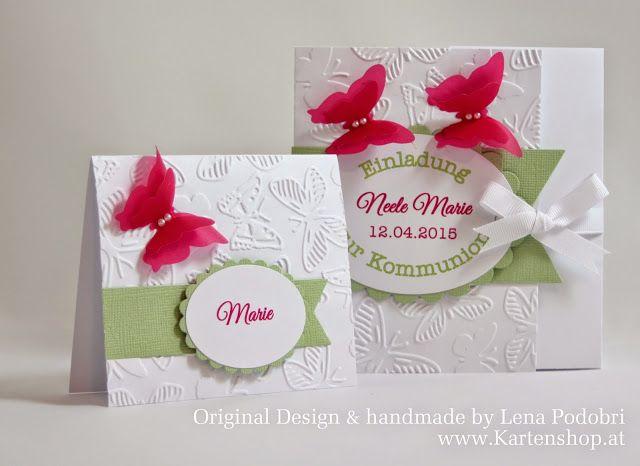 Kommunion *NEELE MARIE* in Weiß | Pink | Apfelgrün - Einladungs- und Tischkarten