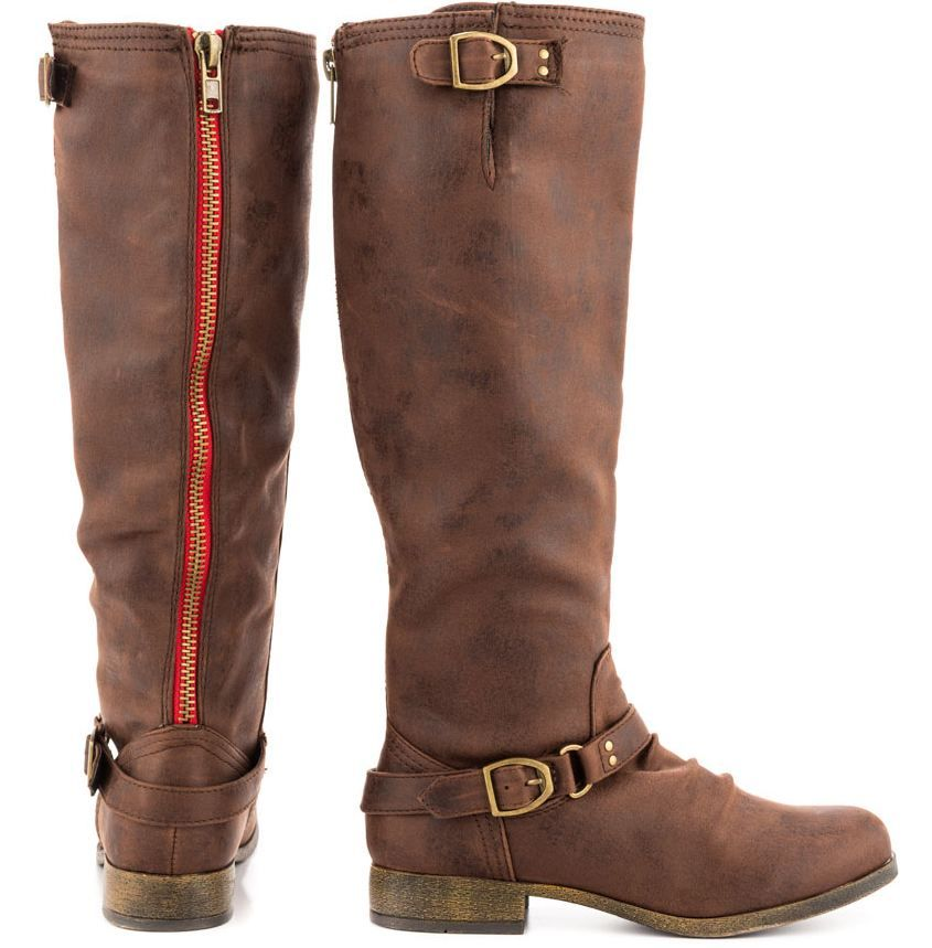 b2eb7d22cb4 candies brown boots with red zipper