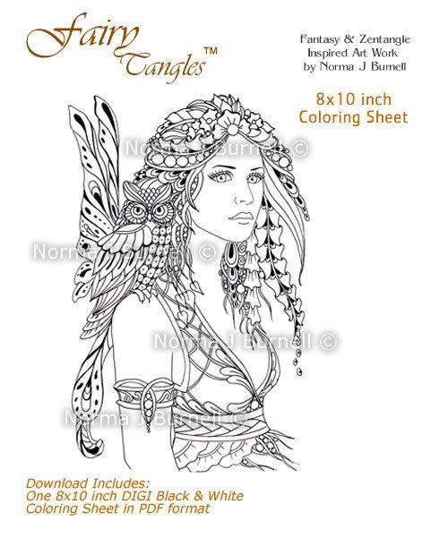 Fairy Owl Fairy Tangles Printable Digital Coloring Book Pages Etsy Coloring Book Pages Angel Coloring Pages Coloring Pages