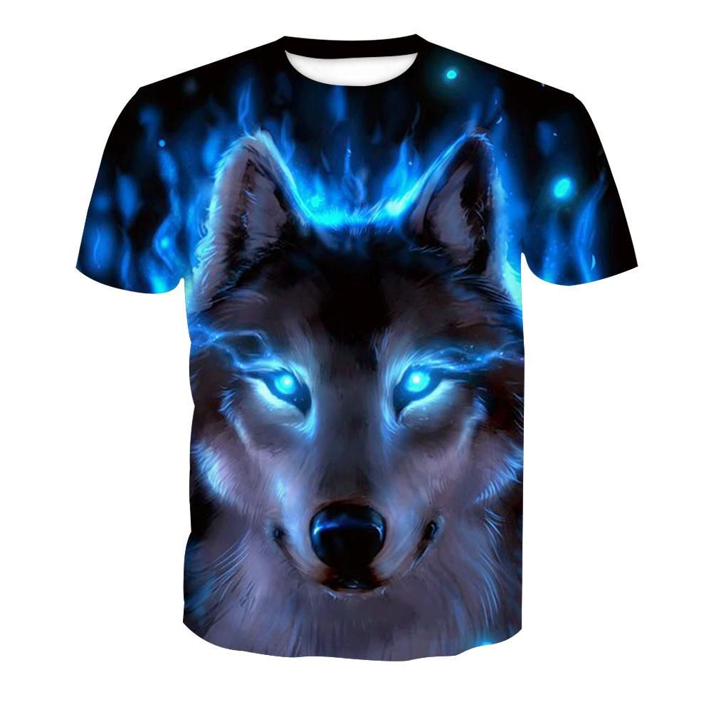 Wolf 3D Printed Mens Womens Summer Casual T-Shirt Short Sleeve Graphic Tee Tops