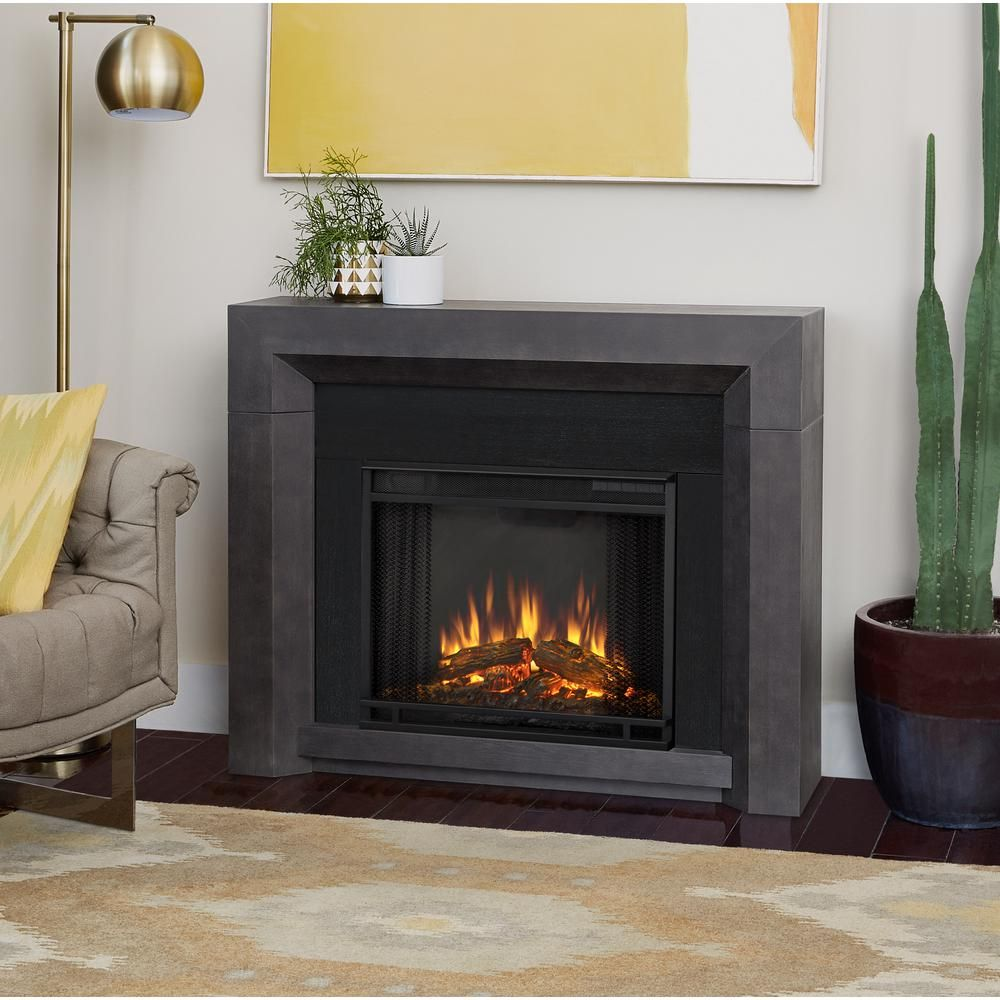 Real Flame Hughes 42 In Electric Fireplace In Gray Electric