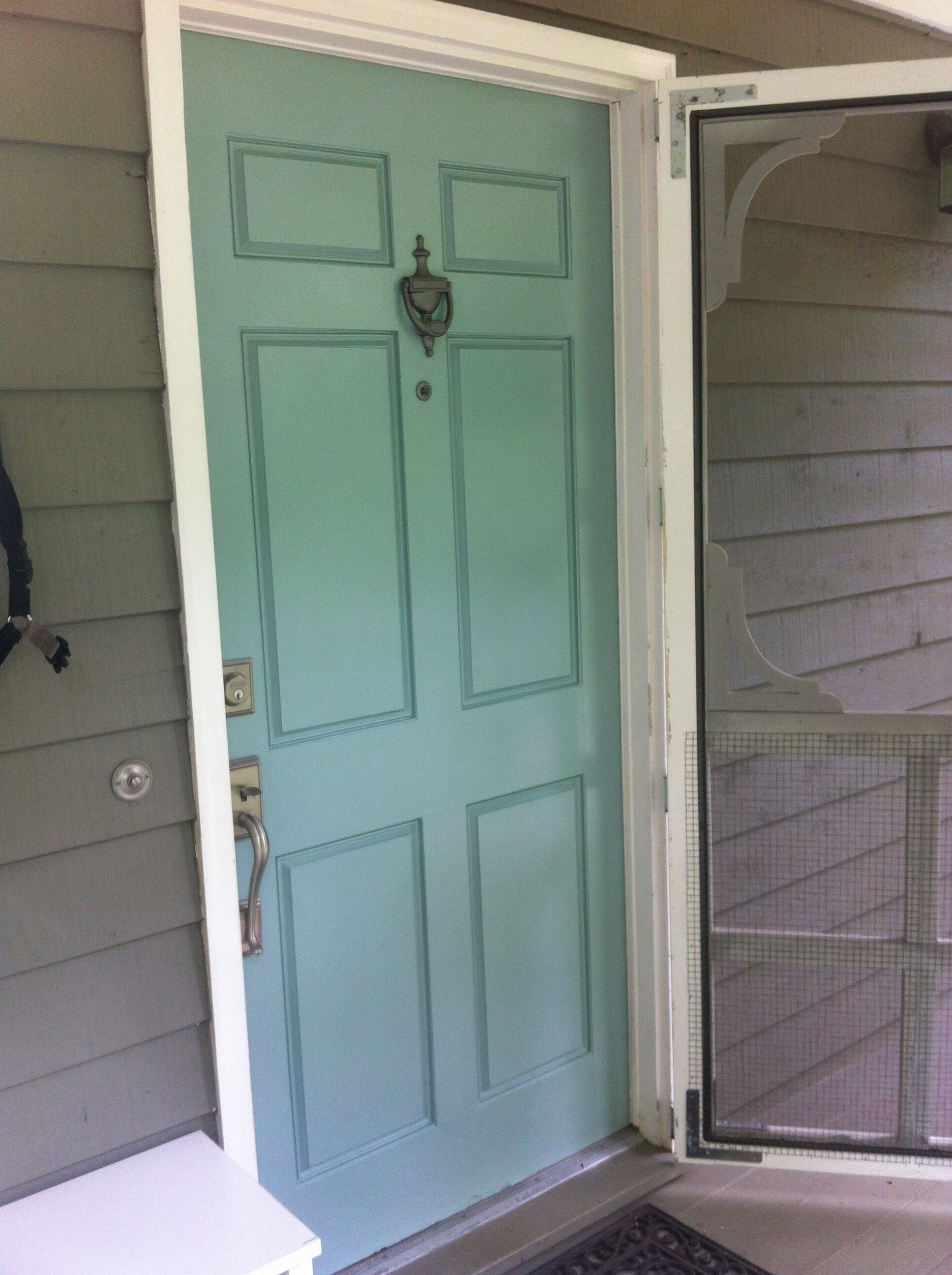 I Painted Our Front Door Benjamin Moore Stratton Blue Love It Will Keep The Screened White